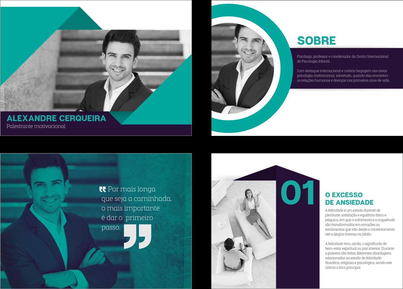Modelo de slides para apresentação de palestrantes profissionais