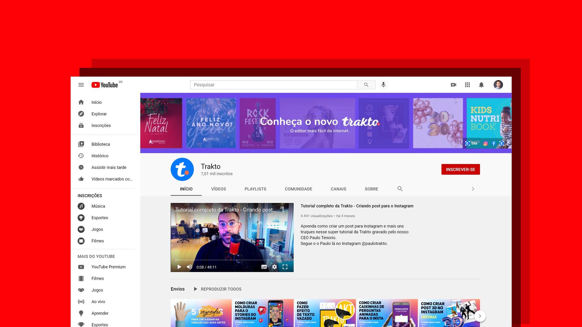trakto youtube - Como criar banner ou capa para canal do YouTube em 5 passos